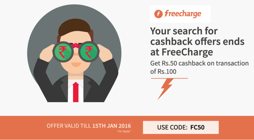 Today #recharge offer - @freecharge Rs 50 cashback