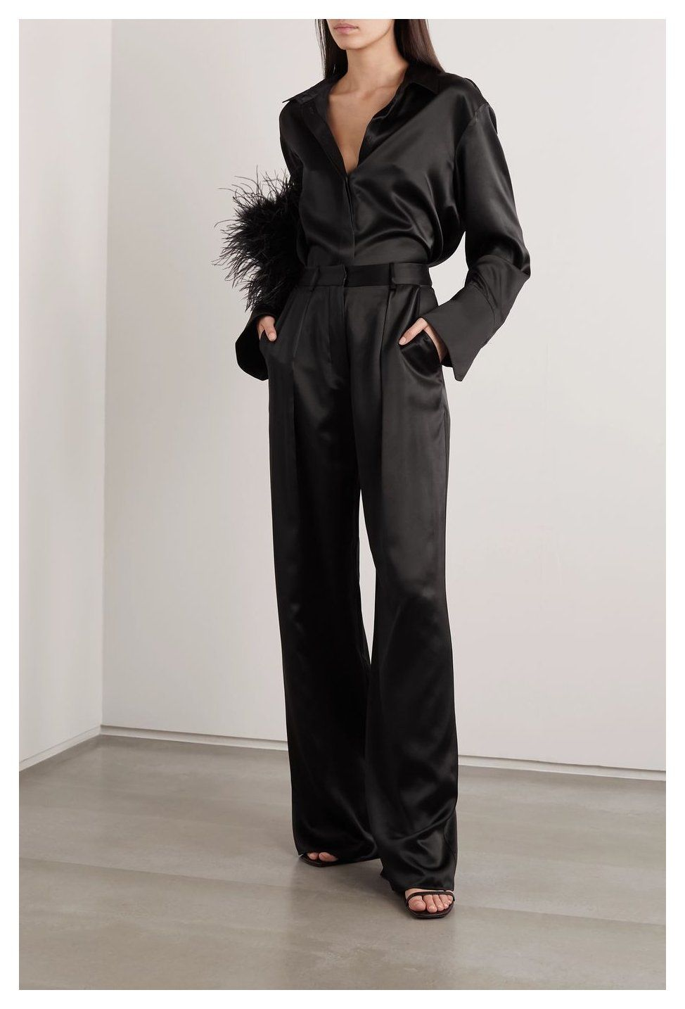 silk trousers outfit
