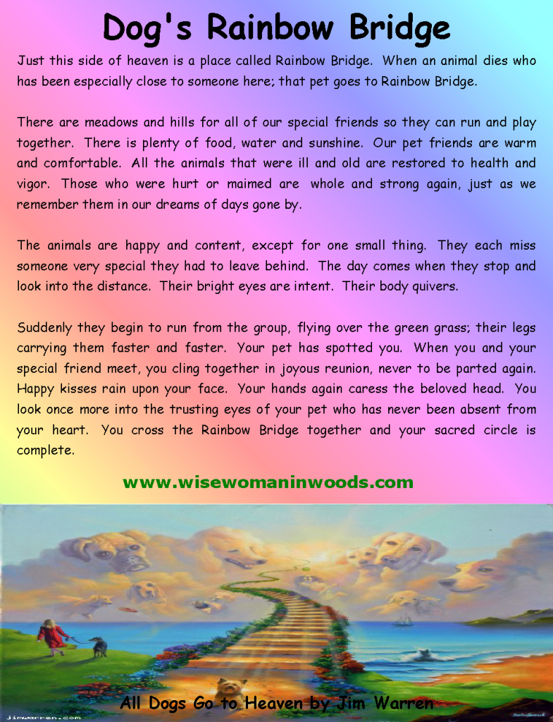 Full Sizes Rainbow Bridges Poems | Dog's Death and the ...