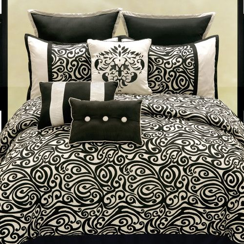 Features:  -Material: Polyester.  -Black/ivory colored.  Product Type: -Comforter/Comforter set.  Color: -Black/Ivory.  Pattern: -Damask.  Material: -Polyester.  Cleaning Method: -Machine washable. Si