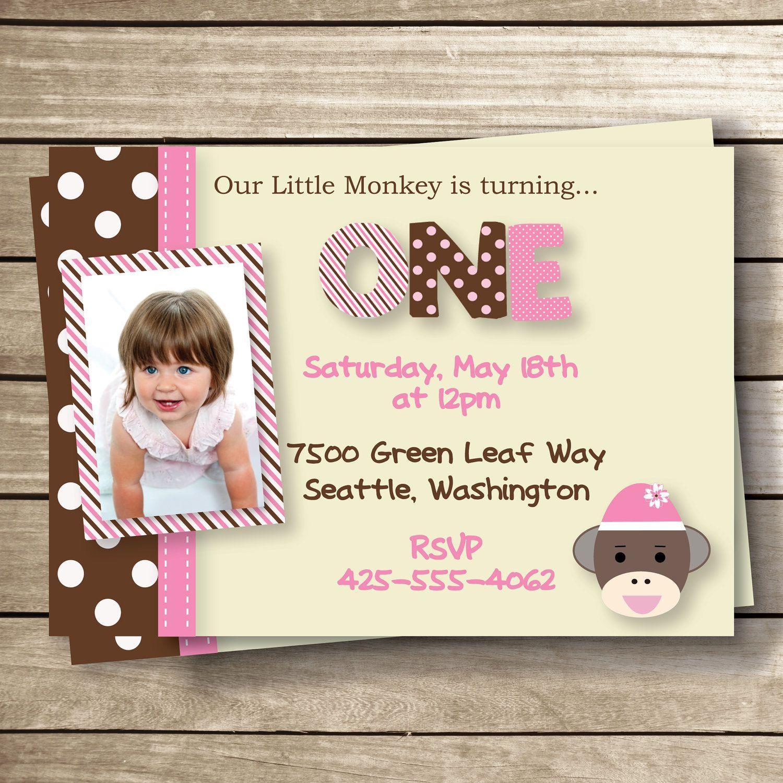 DIY - Sock Monkey Girl Themed Printable Birthday Invitation - 5 x 7 ...