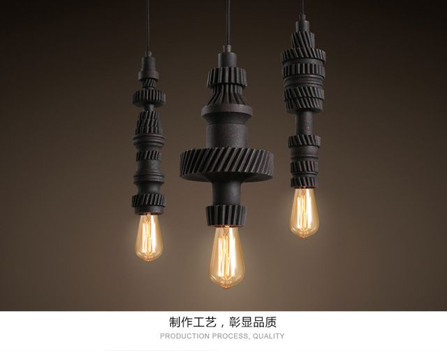 Loft Style Vintage Industrial Style Pendant Lighting Creative Gear Hanging Lamp Edison Lamp Coffee Shop Bar Art Deco Lighting