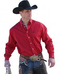 2ee9dcf7 Cinch Men's Red Dot Print Button Long Sleeve Shirt | Cowboy Style in ...