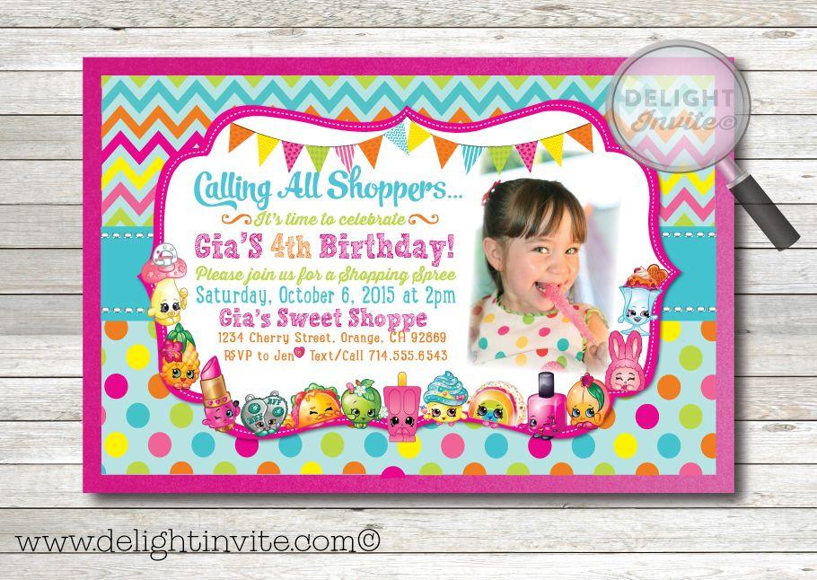 Shopkins Birthday Party Invitation DI 694 Custom Invitations And Announcements For All Occasions By Delight Invite