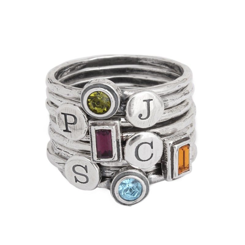 Design Your Own Ring: Design Your Own Silver Stackable Rings With Initial And