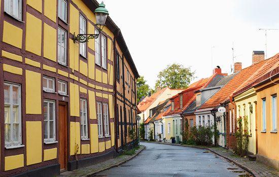 Charming Street In Ystad Sweden