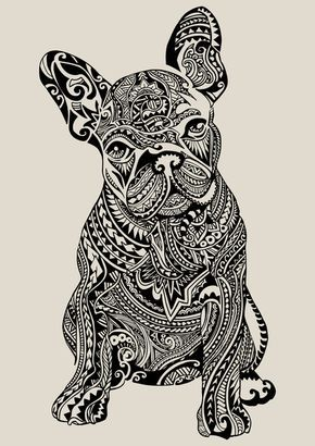 polynesian frenchie art print hund pinterest