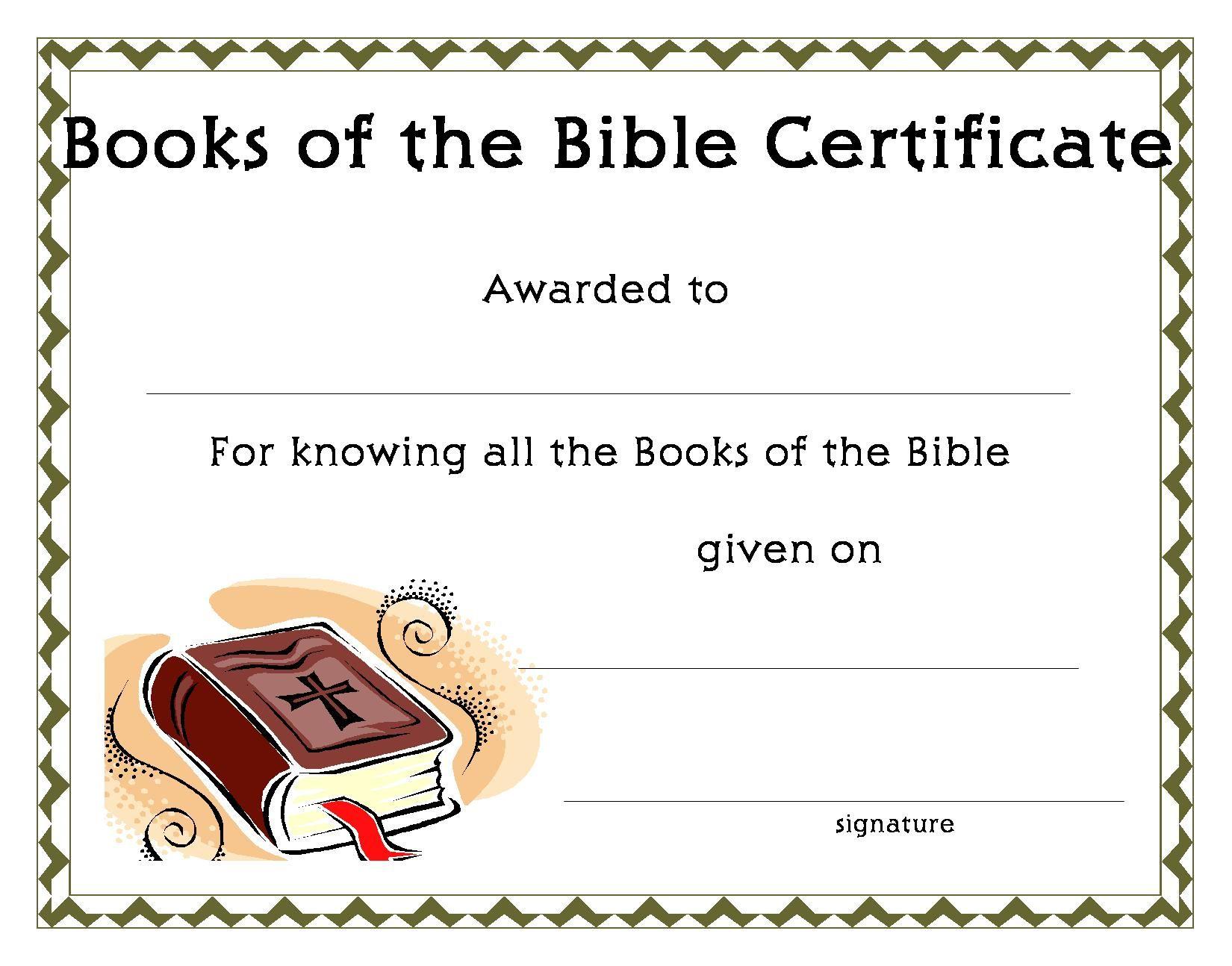 Certificatetemplate Books Of The Bible Certificate
