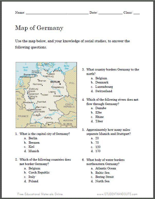 german map worksheet for kids student handouts teach german to kids map worksheets german. Black Bedroom Furniture Sets. Home Design Ideas