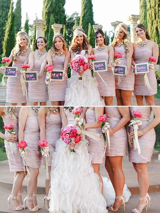 Blush Bridesmaid Dresses With Single Peony Bouquets Wred In Gold Ribbon Weddings