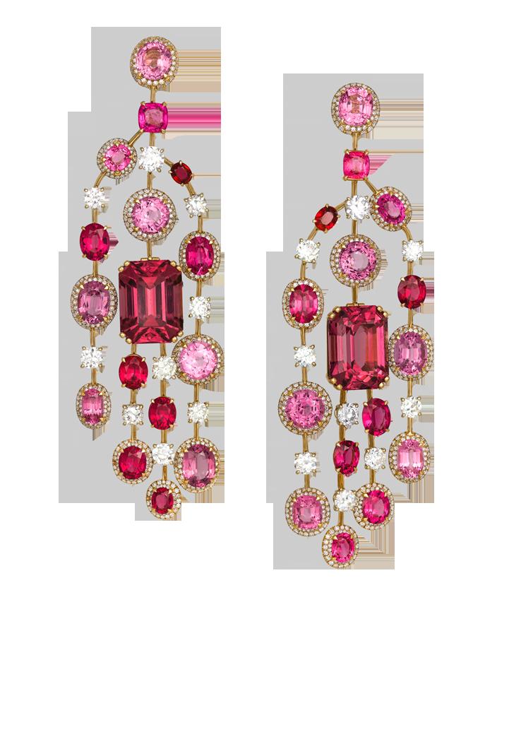 David Morris | Pink spinel & diamond chandelier earrings ...