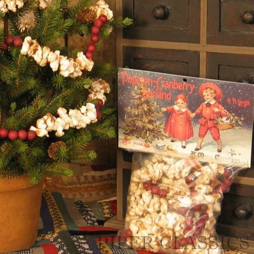 now you can have the look of real popcorn and cranberries without any of the mess of stringing the popcorn our popcorn and cranberry garland is so