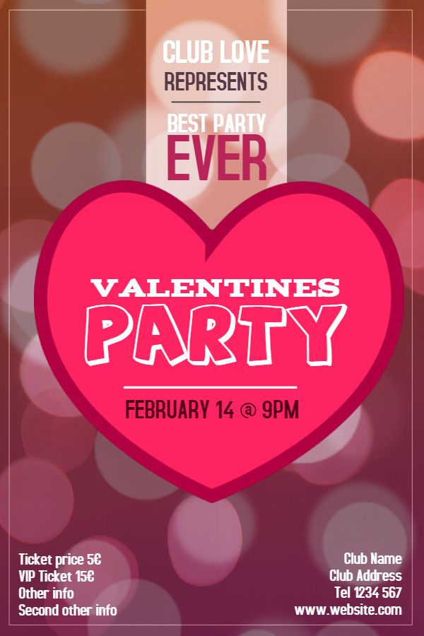 ValentineS Day Party Poster Template Idea Click To Customize