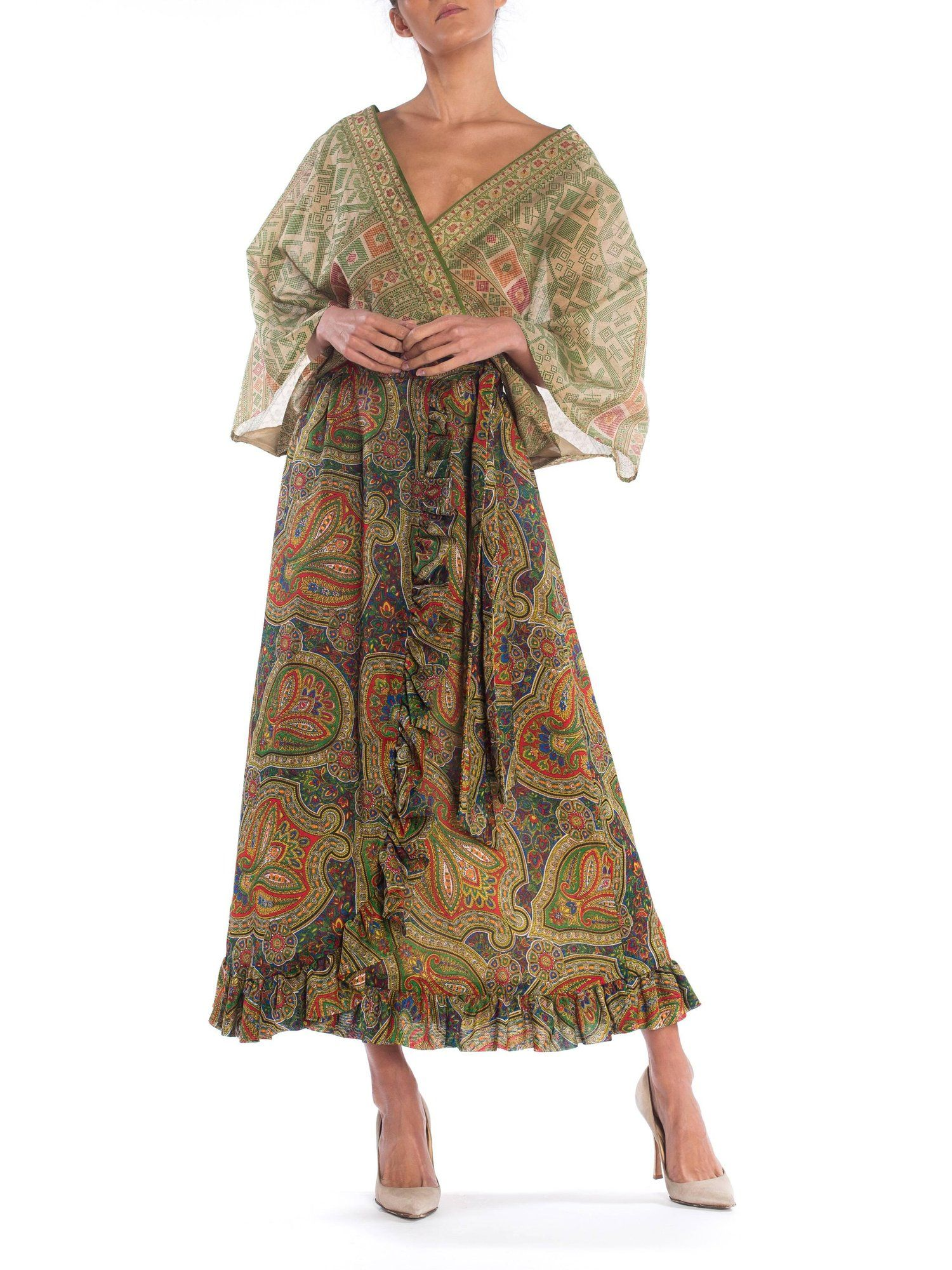036934213d Paisley Print Wrap Dress with Antique Indian Sari Top   From a collection  of rare vintage