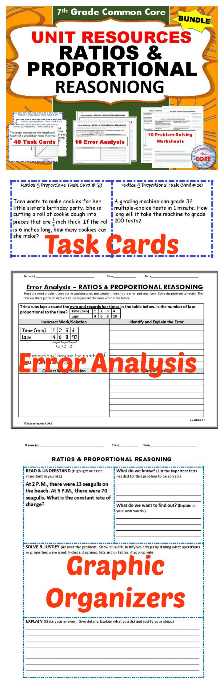 worksheet Proportional Reasoning Worksheets ratios proportions bundle task cards error analysis graphic i use the following proportional reasoning unit resources every year with my 7th graders