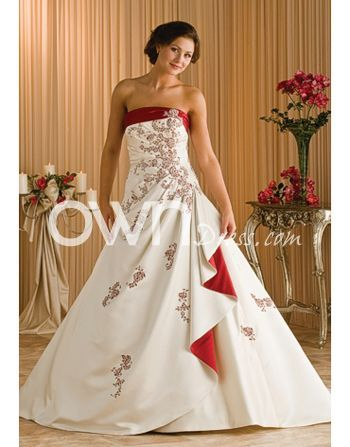 Full a line wedding dresses with red embroidery color for Wedding dress with color accent