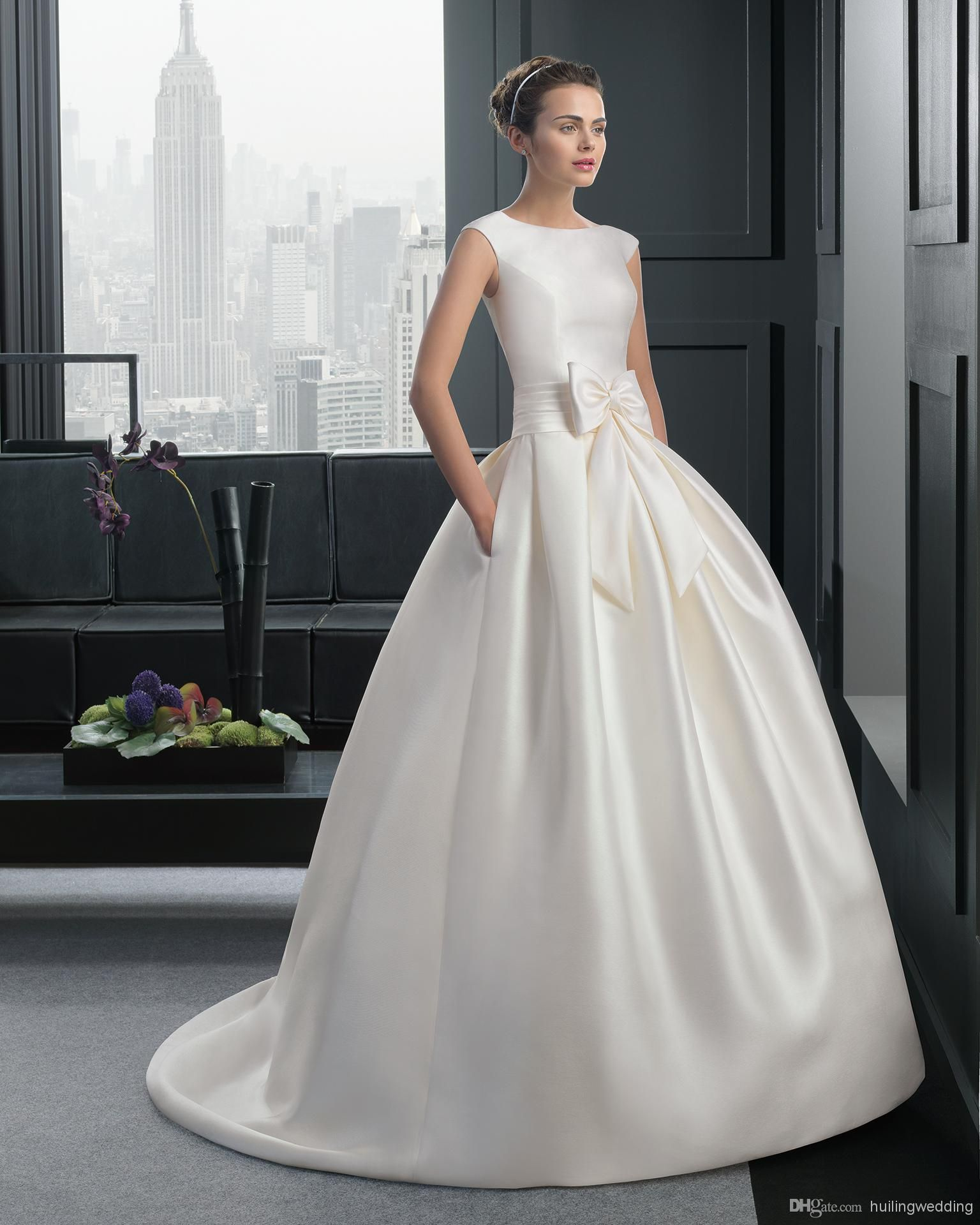 Cheap Fine Holy Sheer Satin Unique Design Fashionable Style Vintage Wedding Dress Crew Sleeveless Ribbon Big Bow In Front Button Zipper Gown Hl959 As Low