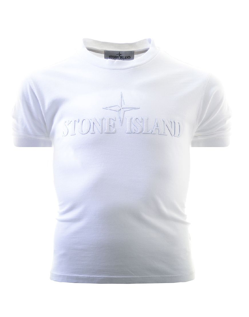 684a81bb Stone Island Junior Front Print T-Shirt White | Terraces Junior ...