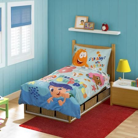 Nickelodeon Bubble Guppies B Is For Bubble 4 Piece Toddler Bedding Set Toddler Bed Set Toddler Bed Comforter Kids Bedding Sets