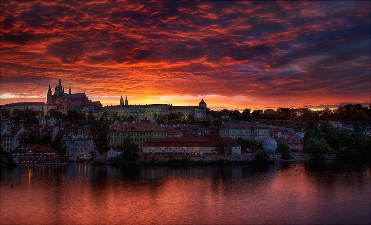 Spectacular Summer Sunset over Prague.