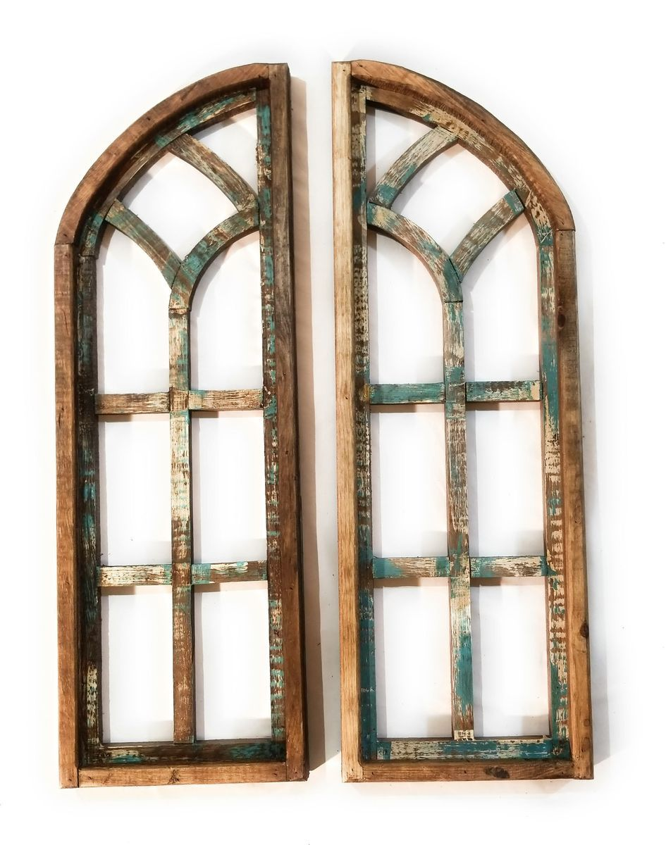 Rustic Turquoise Farmhouse Wooden Wall Window Arches Set