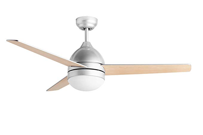 Hauslane Cf2000 48 Inch Modern Ceiling Fan In Silver Finish With Quiet Motor Bright Led Lamp And Three R Modern Ceiling Fan Ceiling Fan Ceiling Fan With Light