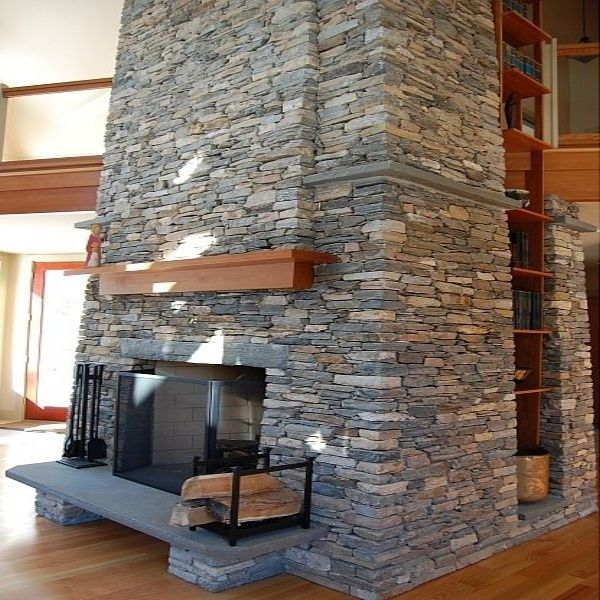 Stone Veneer Fireplace | Modern Stone Veneer fireplace New England ...