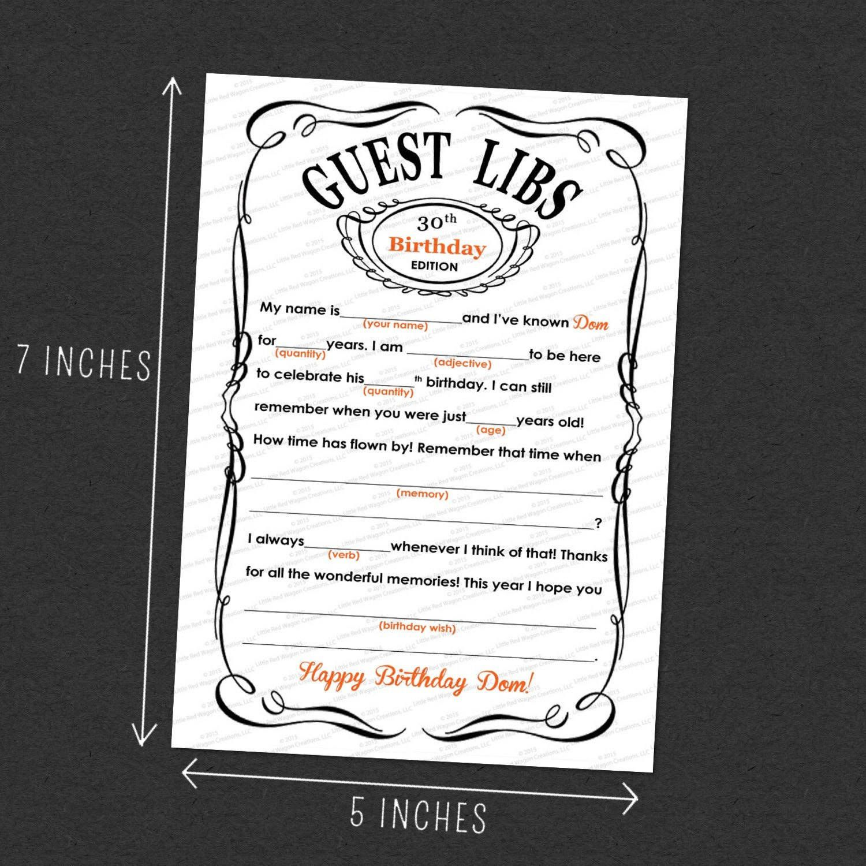 Custom Guest Mad Libs Adult Birthday Printable 5 7