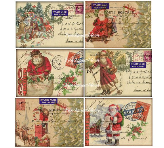 Check Out Vintage Santa Carte Postale Christmas Cards Printable Digital Collage Sheet Shabb With Images Christmas Postcard Vintage Santas Printable Christmas Cards