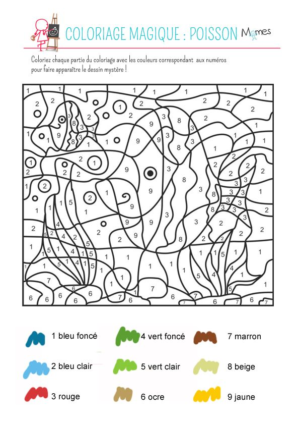 coloriage magique le poisson teaching french learning french