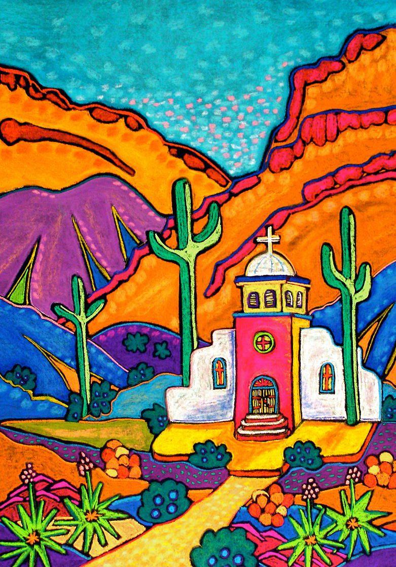 Jenny Willigrod Original Southwest Art Churches Con Imagenes