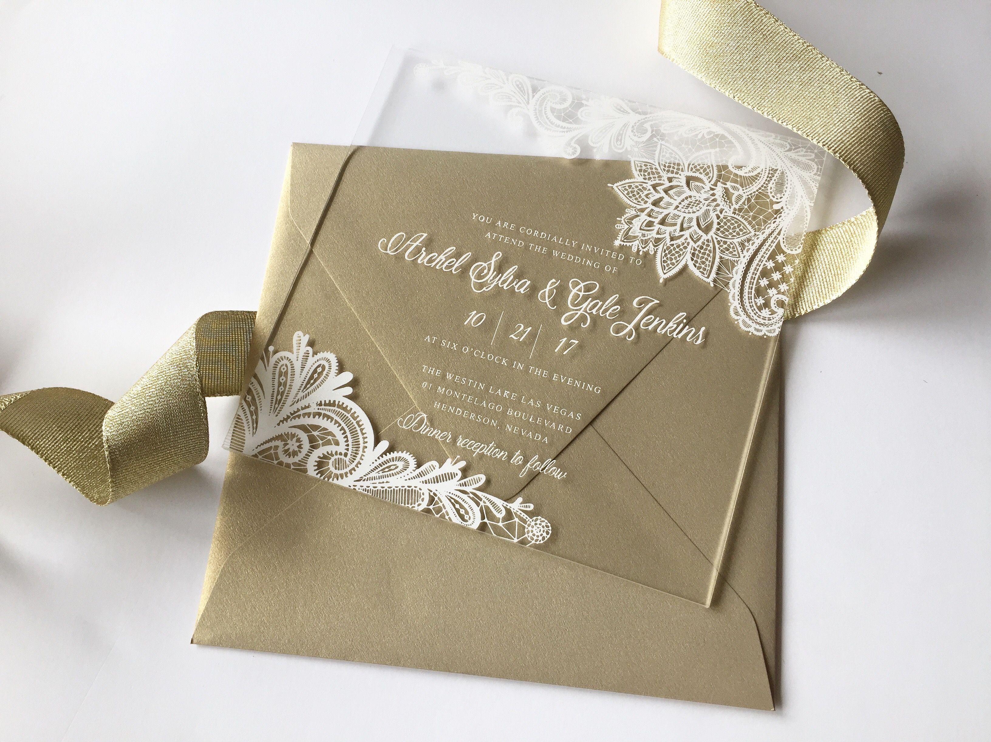 Clear Acrylic Invitation White Lace Design And Gold Leaf Wedding