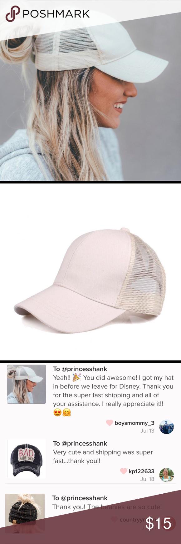 e1151acf798 Beige C.C High Ponytail Baseball Style Cap New CC ponytail hat with mesh  back. Adjustable velcro back with CC leather logo on back.