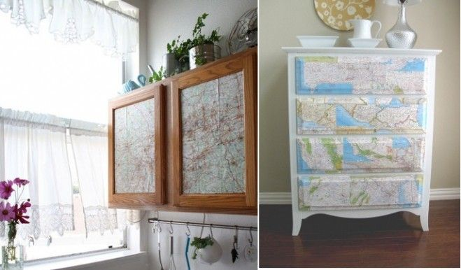 Ways To Decorate With Junk | Creative Ways To Decorate With Maps : Use Old  Maps Awesome Ideas