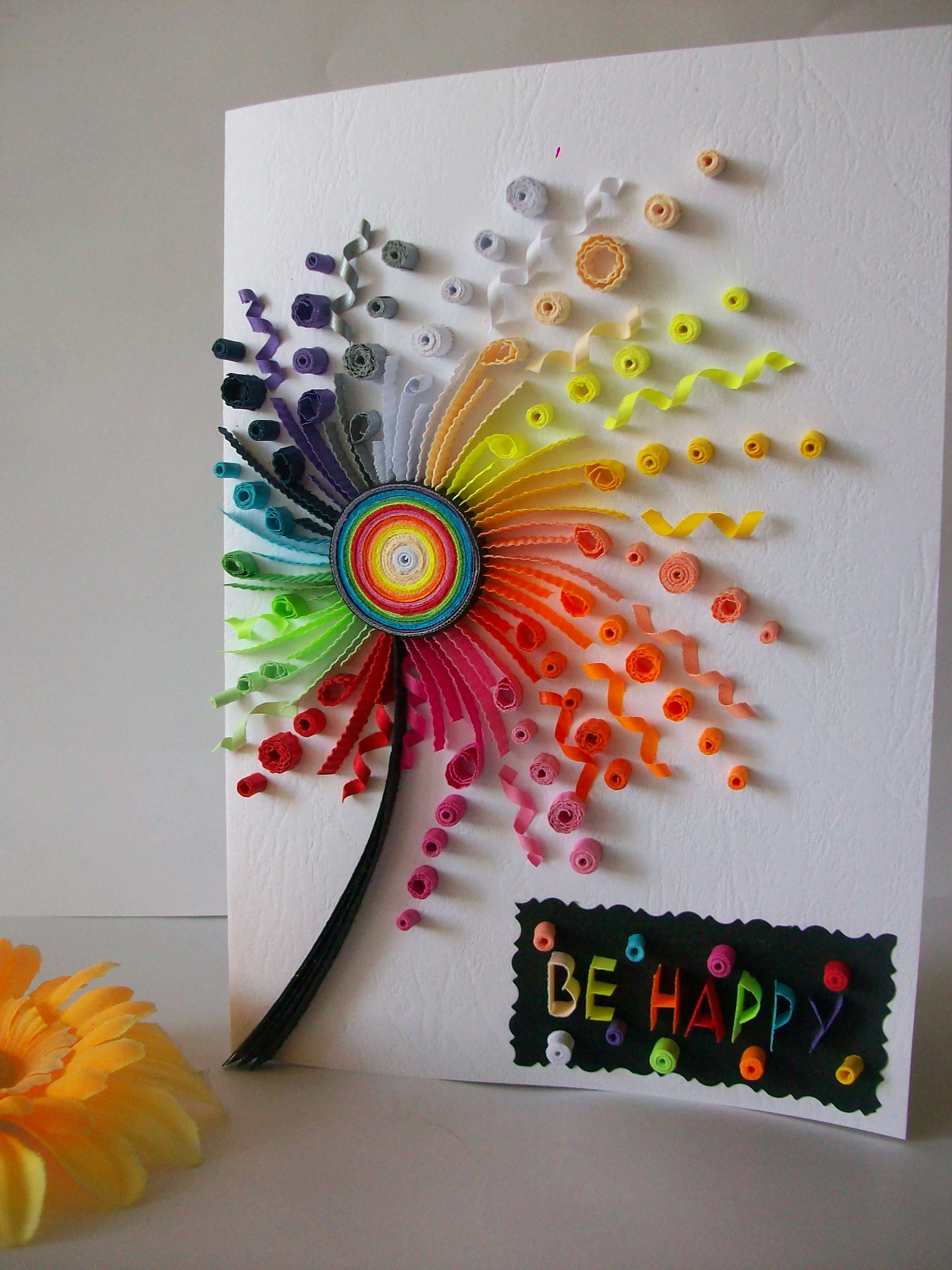 Birthday card, Quilling card, Quilled Birthday Card, Paper