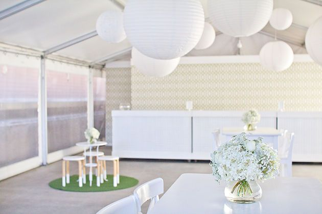 Rooftop Wedding White And Green Flower Arrangements Cocktail
