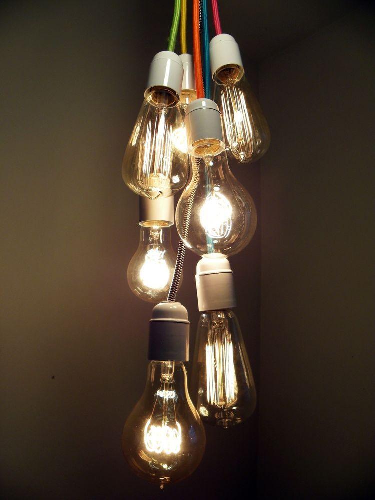 Details About Modern Crystal Chandelier Vintage Industrial Lamp Edison Pendant Ceiling Light