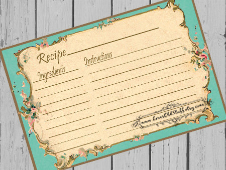 Printable Aqua Recipe Card Template X  X Recipe Cards