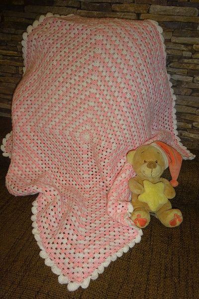 Babydecken Granny Square Babydecke Rosa Weiß Gehäkelt Wolle
