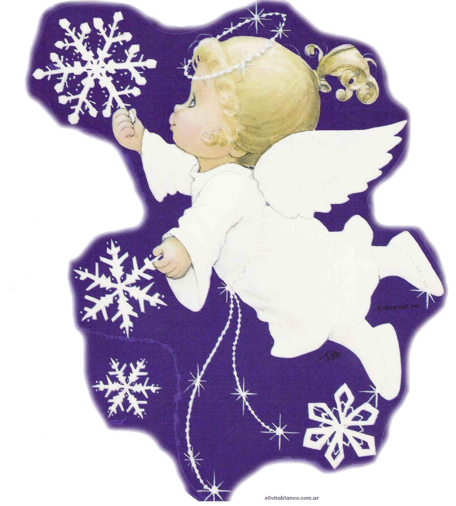 Открытка с ангелочками к рождеству
