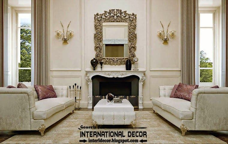 luxury classic living room interior design decor furniture mirror and fireplace - D Classic Interior Design