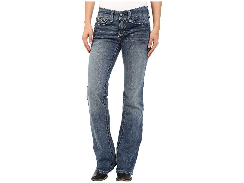 Ariat R.E.A. Riding Jeans Whipstitch (Rainstorm) Women's Jeans. Sit pretty in the saddle with a stylish and thoughtfully constructed Ariat jean. Slim fit with a boot cut and special fabrication that makes riding a breeze. Cotton-poly denim with stretch features whiskering  fading  and contrast stitching. Belt loop waistband is engineered not to gap. Zip fly and button closure. Traditional five-pocket design. Embroidered de