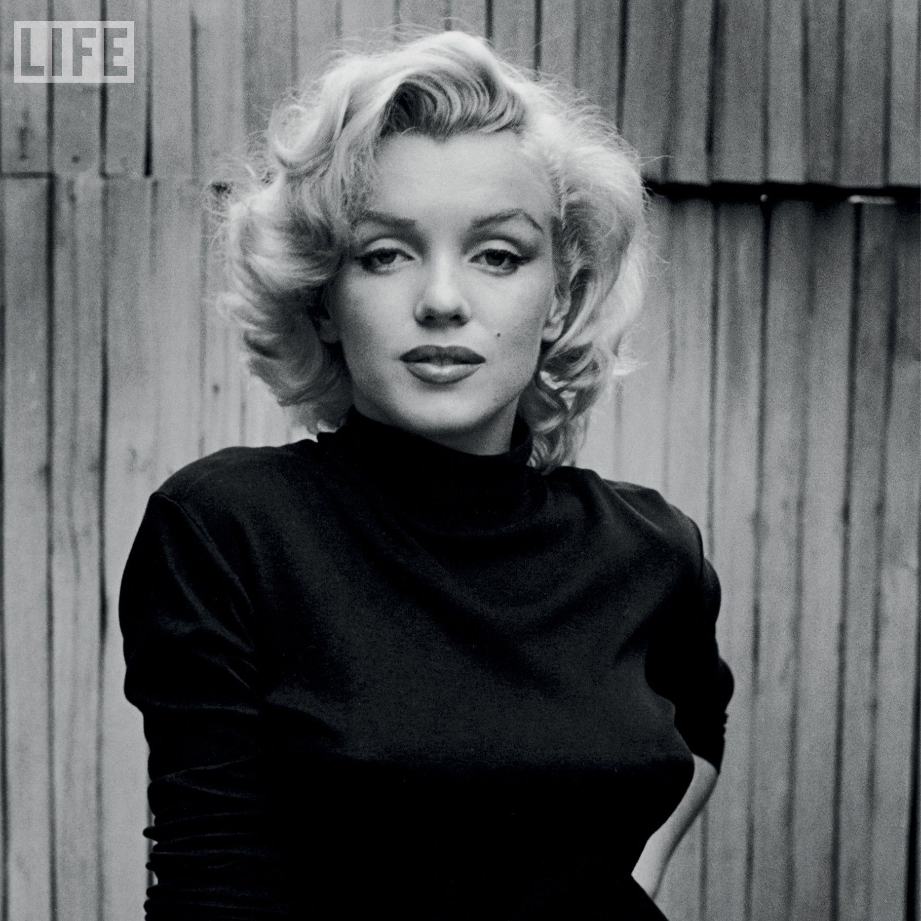 Iconic 1950's Marilyn Monroe black and white photographic portrait .