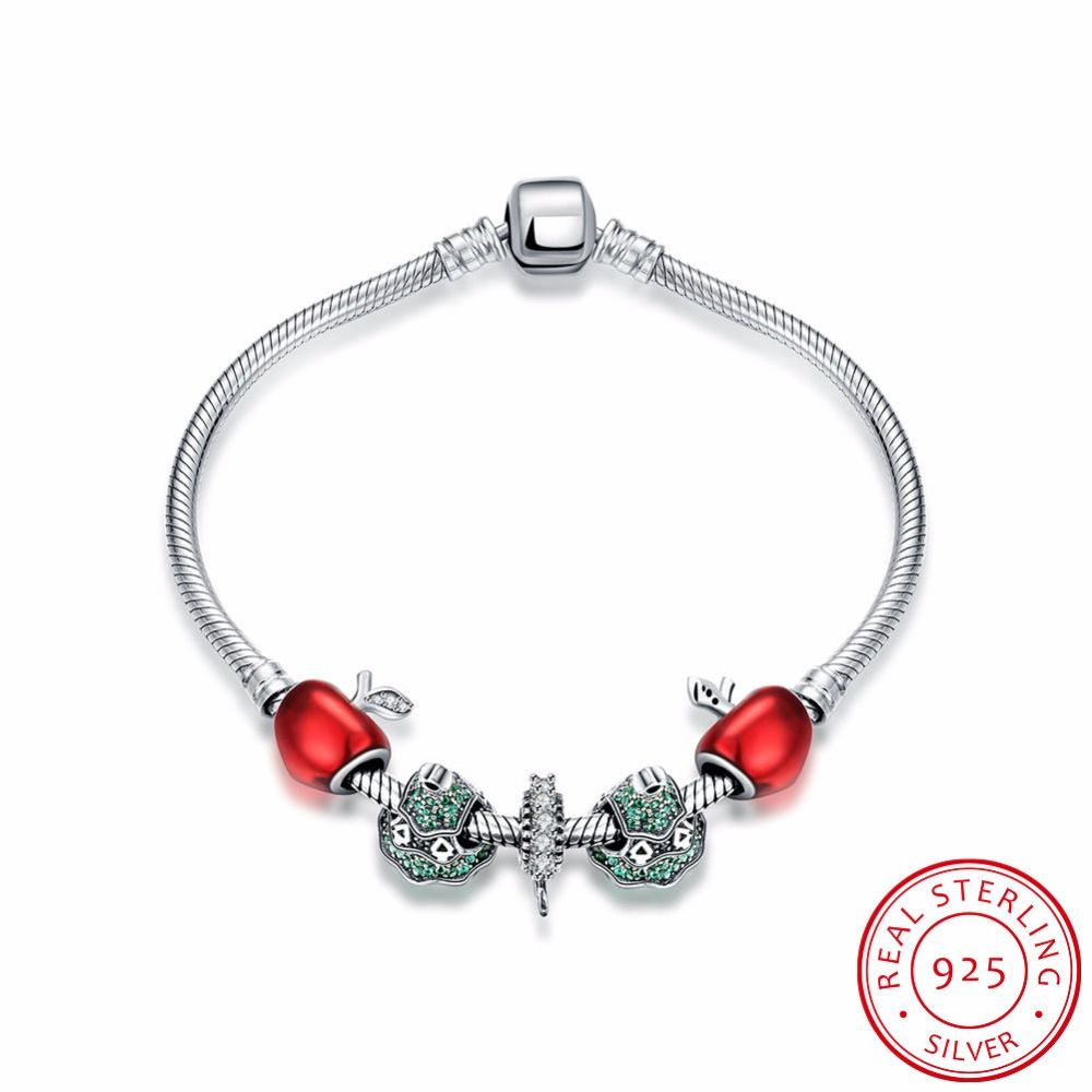 Robira sterling silver crystal charm bracelets for women red