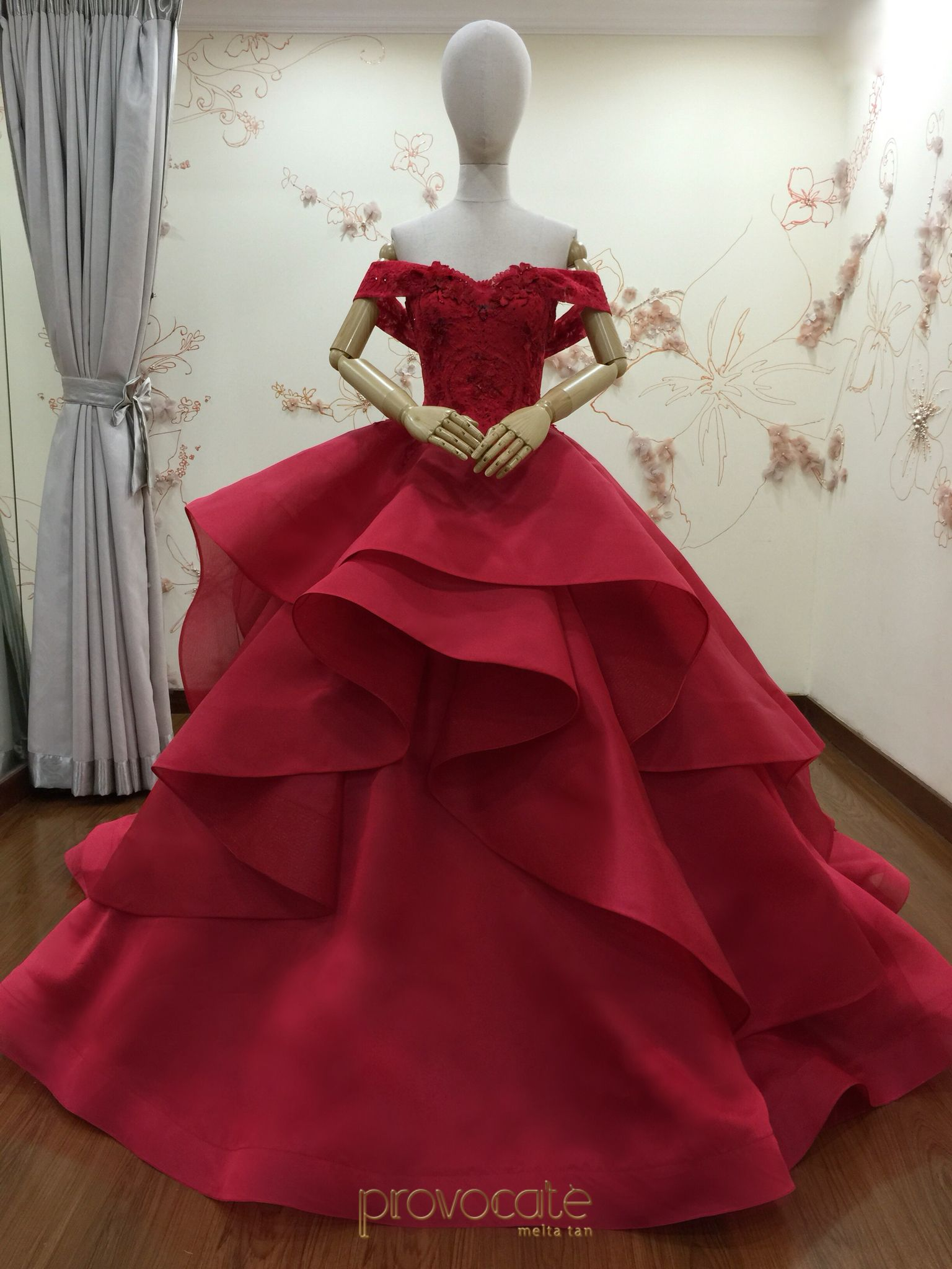 Fairytale off shoulder royal red ball gown. | Tomboy as Audrey ...