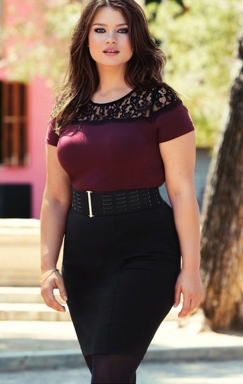 Curvy Woman Black Pencil Skirt Wide Black Belt and Red Top With ...