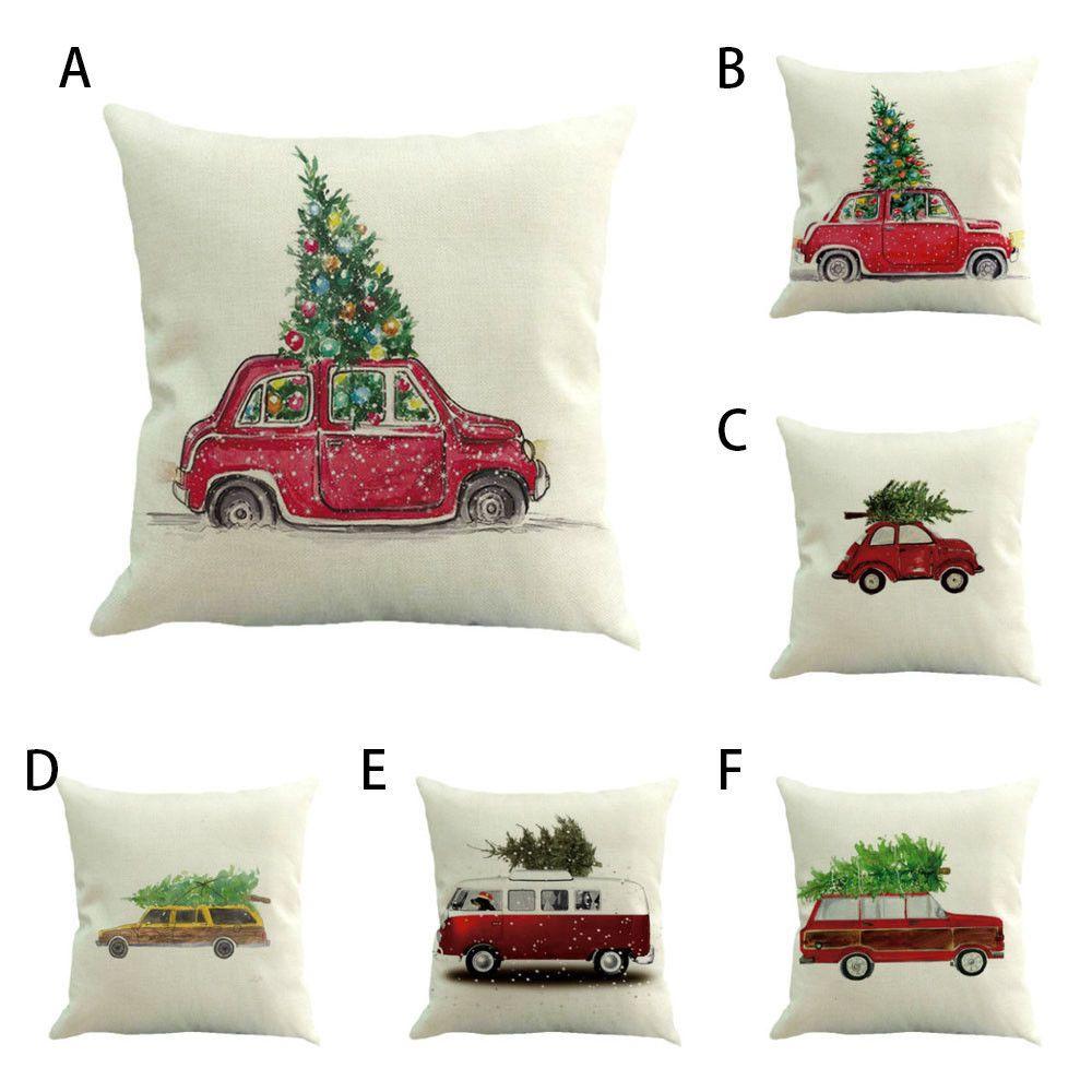 Christmas cotton linen chair sofa car home waist cushion cover throw