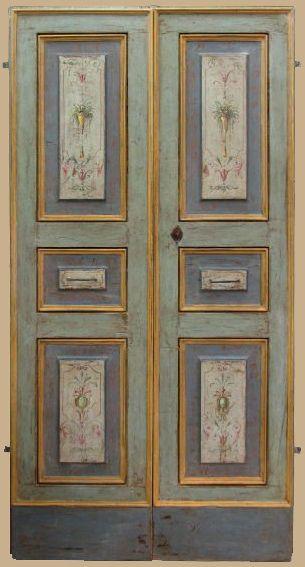 Riproduzione di una porta dipinta del \'700 in pioppo di trave antica ...