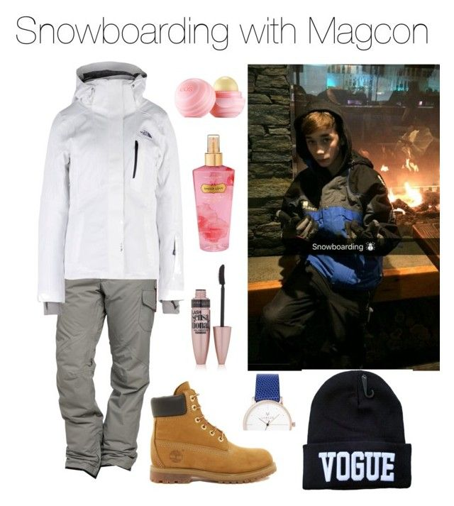 """Magcon 2016"" by vasilikiv ❤ liked on Polyvore featuring Burton, The North Face, Timberland, Maybelline, Victoria's Secret and Eos"