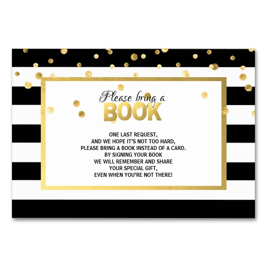 Bring a book black white baby shower cards